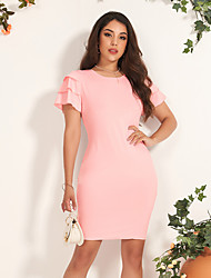 cheap -Women's Mini Blushing Pink Dress Casual Active Daily Club Shift Solid Color S M