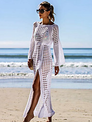 cheap -Women's Sexy Thin Mesh Long Sleeve Swimsuit Swim Beach Maxi Cover Up Dress