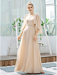 cheap -A-Line V Neck Floor Length Chiffon Bridesmaid Dress with Appliques