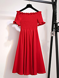 cheap -Women's Red Black Dress Swing Solid Color Off Shoulder M L