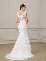 cheap -Mermaid / Trumpet V Neck Sweep / Brush Train Polyester Regular Straps Formal Plus Size Wedding Dresses with Draping / Appliques 2020
