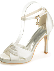 cheap -Women's Wedding Shoes Stiletto Heel Open Toe Imitation Pearl / Sparkling Glitter Satin Minimalism Spring & Summer White / Purple / Champagne / Party & Evening