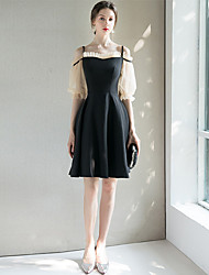 cheap -A-Line Spaghetti Strap Short / Mini Spandex Little Black Dress / Black Wedding Guest / Cocktail Party Dress with Pleats 2020