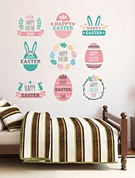 cheap -Happy easter Wall Stickers Plane Wall Stickers Decorative Wall Stickers, PVC Home Decoration Wall Decal Wall Decoration 1pc 45*45CM