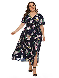 cheap -Women's Holiday Beach Casual A Line Maxi Dress - Floral Daisy, Print Navy Blue Light Blue XL XXL XXXL XXXXL