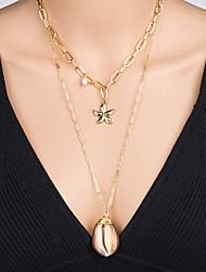 cheap -Women's Pendant Necklace Necklace Layered Necklace Stacking Stackable Starfish Shell Classic Rustic Vintage Bohemian Imitation Pearl Chrome Shell Gold 60 cm Necklace Jewelry 1pc For Party Evening