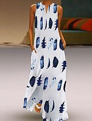 cheap -Women's Maxi White Dress Plus Size Summer Casual / Daily A Line Geometric Print S M