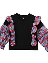 cheap -Baby Girls' Street chic Plaid Long Sleeve Sweater & Cardigan Black