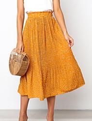 cheap -Women's Daily Wear Basic A Line Skirts - Geometric Print Yellow Red Green S M L