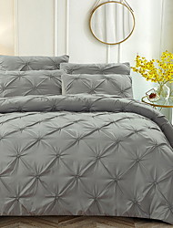 cheap -Duvet Cover Sets 3 Piece Linen / Cotton Solid Colored Black Printed Simple
