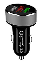 Недорогие -QC 3.0 Dual USB автомобильное зарядное устройство автомобильное прикуриватель универсальное автомобильное зарядное устройство USB с дисплеем напряжения автомобиля для iphone sumsung xiaomi