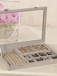 cheap -Square Jewelry Box - Wooden Gray, Pink 35 cm 24 cm 4.5 cm / Women's