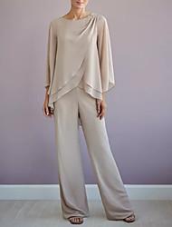 cheap -Pantsuit / Jumpsuit Jewel Neck Floor Length Chiffon Long Sleeve Elegant Mother of the Bride Dress with Cascading Ruffles 2020