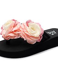 cheap -Women's Slippers & Flip-Flops Flat Heel Open Toe Satin Flower Polyester Classic / Casual Walking Shoes Summer Red / Pink / Light Blue