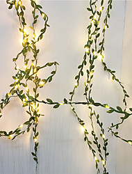 cheap -10M 100Leds Tiny Green Leaves Garland Fairy StriLight Led Copper Wire Lights For Wedding Christmas Home Party Decoration Warm White Lighting AA Battery Power (come without battery)
