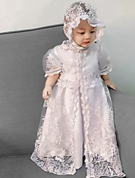 cheap -A-Line Floor Length Event / Party Christening Gowns - Polyester Short Sleeve Jewel Neck with Lace / Appliques