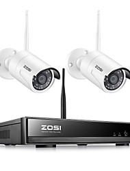 cheap -ZOSI H.265 2PCS CAM Wireless NVR 8CH CCTV System 1080P Indoor Outdoor Security Camera System With 1080P WiFi Cameras IP66 Waterproof With Mobile PC Remote Night Vision Survilliance Without Hard Drive