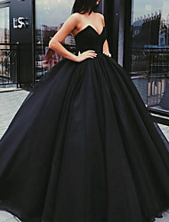 cheap -Ball Gown Elegant Black Quinceanera Prom Dress Strapless Sleeveless Floor Length Tulle Velvet with Pleats 2020