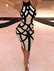 cheap -Women's Black Dress Casual Street chic Daily Going out Bodycon Sheath Striped Color Block Halter Neck Backless S M Slim