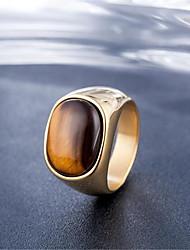 cheap -Band Ring Tiger's Eye Stone Geometrical Silver Gold Titanium Steel Stone Precious Fashion Vintage 1pc 9 10 / Men's