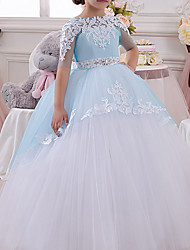 cheap -Ball Gown Floor Length Pageant Flower Girl Dresses - Polyester Half Sleeve Jewel Neck with Bow(s) / Appliques