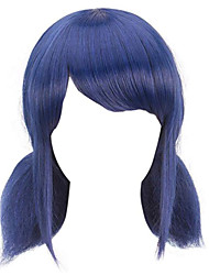 cheap -Synthetic Wig Straight Halloween With 2 Ponytails Wig Medium Length Blue Synthetic Hair 14 inch Women's Best Quality Black