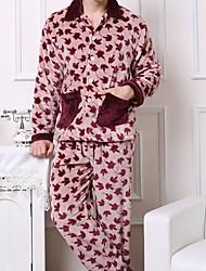 cheap -Men's Suits Nightwear Blushing Pink M L XL