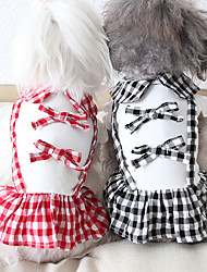 cheap -Dog Costume Dress Dog Clothes Breathable Red Black Costume Beagle Bichon Frise Chihuahua Fabric Plaid / Check Bowknot Casual / Sporty Cute XS S M L XL