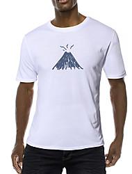 cheap -Men's Daily Sports Business / Basic T-shirt - Abstract / Cartoon Blue & White, Print Black