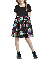 cheap -Kids Girls' Basic Cute Animal Cartoon Patchwork Print Short Sleeve Above Knee Dress Black