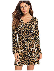 cheap -Women's Brown Dress A Line Leopard V Neck S M