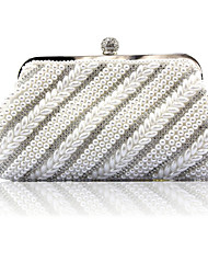 cheap -Women's Girls' Bags Synthetic Evening Bag Pearls Crystals Solid Color Wedding Bags Wedding Party Event / Party White