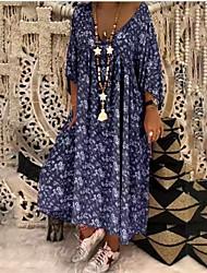 cheap -Women's Maxi Shift Dress - 3/4 Length Sleeve Geometric V Neck Loose Blue Purple Red Yellow Khaki Navy Blue S M L XL XXL XXXL XXXXL XXXXXL