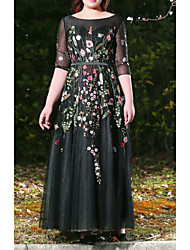 cheap -A-Line Plus Size Black Prom Formal Evening Dress Jewel Neck Half Sleeve Floor Length Lace Satin Tulle with Appliques 2020 / Illusion Sleeve