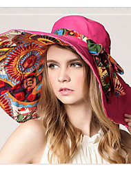 Недорогие -Жен. Классический Шляпа от солнца Полиэстер,Цветочный принт Пурпурный Красный Оранжевый