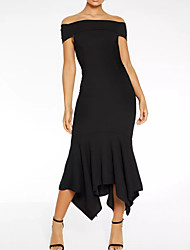cheap -Sheath / Column Off Shoulder Asymmetrical Polyester Elegant / Black Formal Evening / Wedding Guest Dress with Draping 2020