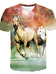 cheap -Kids Boys' Basic Street chic Horse Color Block 3D Animal Print Short Sleeve Tee Rainbow