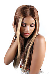 cheap -Remy Human Hair Unprocessed Virgin Hair Lace Front Wig Free Part style Brazilian Hair Peruvian Hair Straight Brown Wig 180% Density Best Quality Hot Sale 100% Virgin Comfy Coloring Women's Long