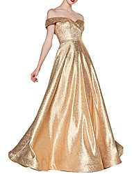cheap -A-Line Off Shoulder Floor Length Sequined Sparkle / Gold Engagement / Prom Dress with Sleek / Draping 2020