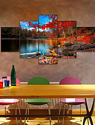 cheap -AMJ Hot Sale Autumn Autumn Leaves Five-piece Painting Living Room Sofa Background Wall Decoration Canvas Picture Frameless Core