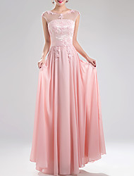 cheap -A-Line Elegant Pink Prom Formal Evening Dress Jewel Neck Sleeveless Floor Length Chiffon with Appliques 2020
