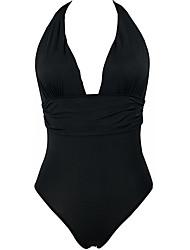 cheap -Women's Plus Size Basic Cheeky Bikini One-piece Swimwear Swimsuit - Solid Colored Backless S M L Black