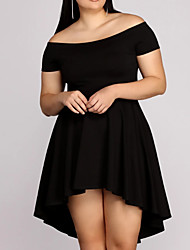 cheap -A-Line Plus Size Black Homecoming Cocktail Party Dress Off Shoulder Sleeveless Asymmetrical Spandex with Pleats 2020