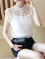 cheap -Women's Solid Colored Blouse Daily White / Black / Beige