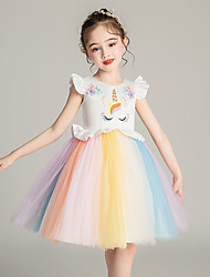 cheap -Unicorn Dress Girls' Movie Cosplay Cosplay Costume Party Vacation Dress White Pink Dress Sequin Polyster