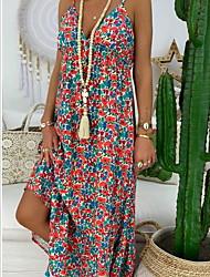 cheap -Women's Maxi Red Blue Dress A Line Print Strap V Neck S M