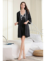cheap -Women's Cut Out / Mesh Chemises & Gowns / Robes / Satin & Silk Nightwear Jacquard / Solid Colored Blushing Pink Blue Black S M L