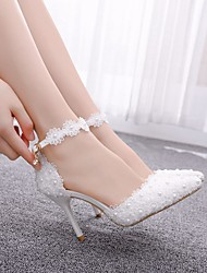cheap -Women's Wedding Shoes Stiletto Heel Pointed Toe Imitation Pearl / Stitching Lace Lace / PU Sweet Spring &  Fall / Summer Pink / White