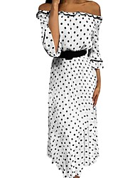 cheap -Women's A Line Dress - Polka Dot White S M L XL