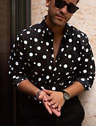 cheap -Men's Polka Dot Shirt Daily Black
